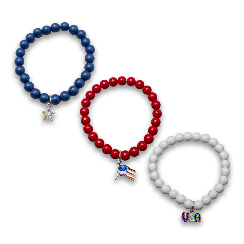 Red White and Blue Beaded Bracelet Trio