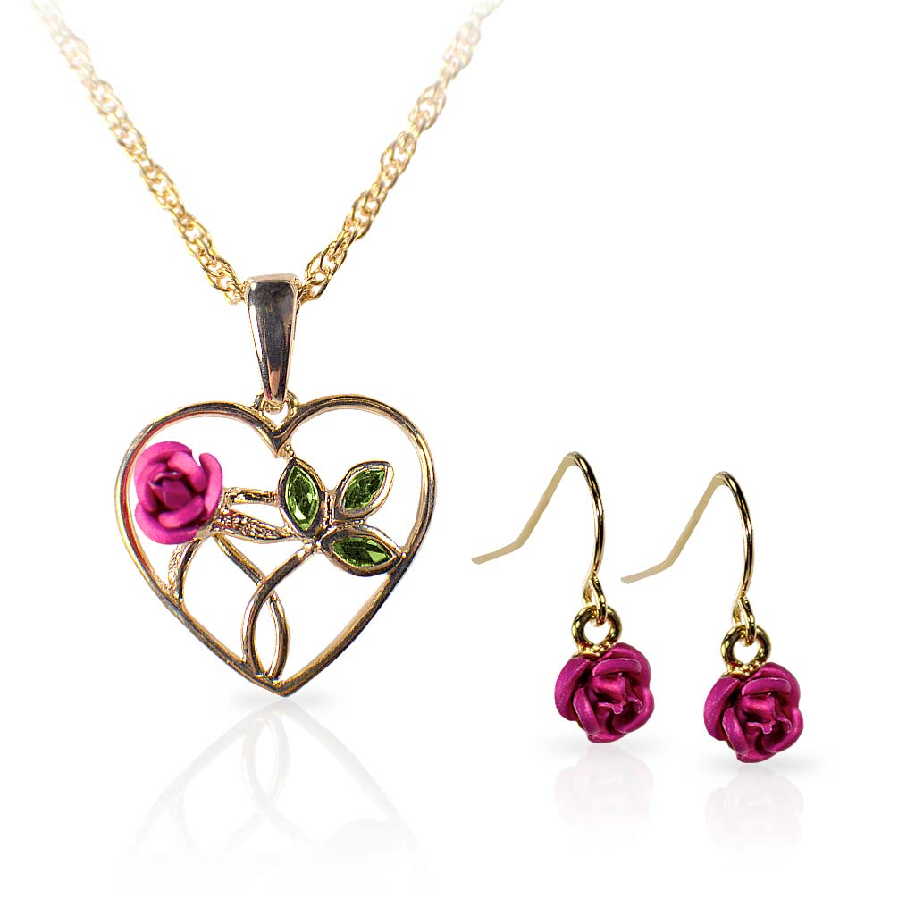 Rose Earrings and Gold Heart Necklace Set