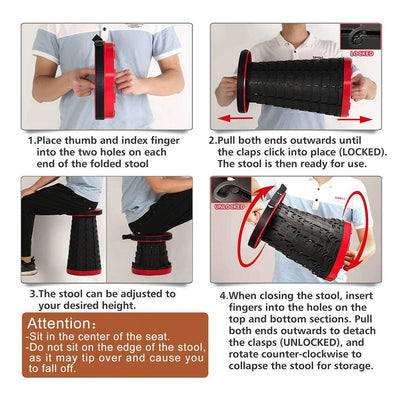 Infographic showing steps to open and close Pop-Up Stool