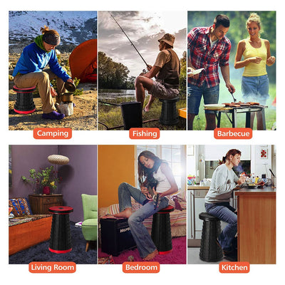 Lifestyle images showing you can use Pop-Up Stool for camping, fishing, barbecues, in your living room, bedroom, and kitchen