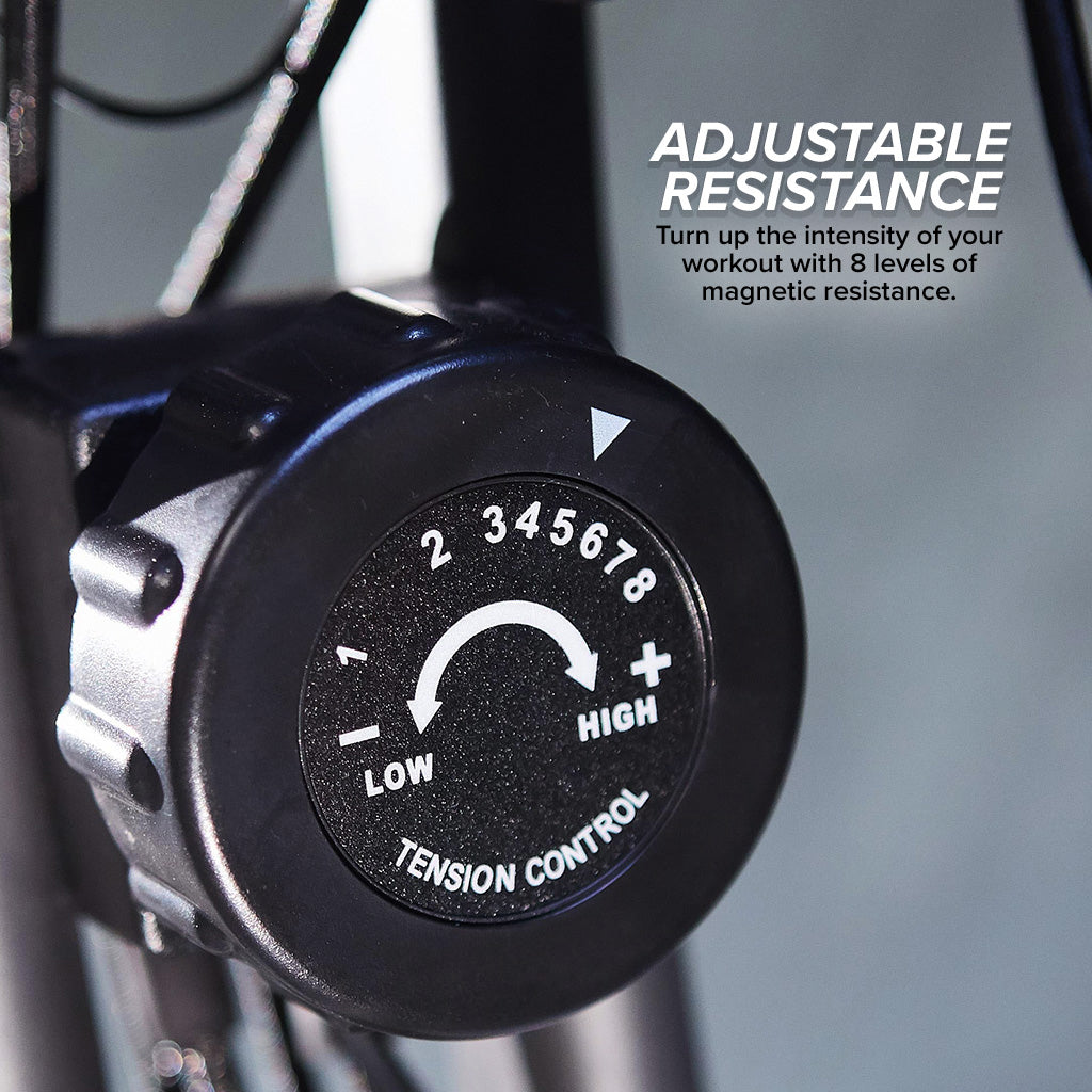Adjustable resistance tension control meter, includes text