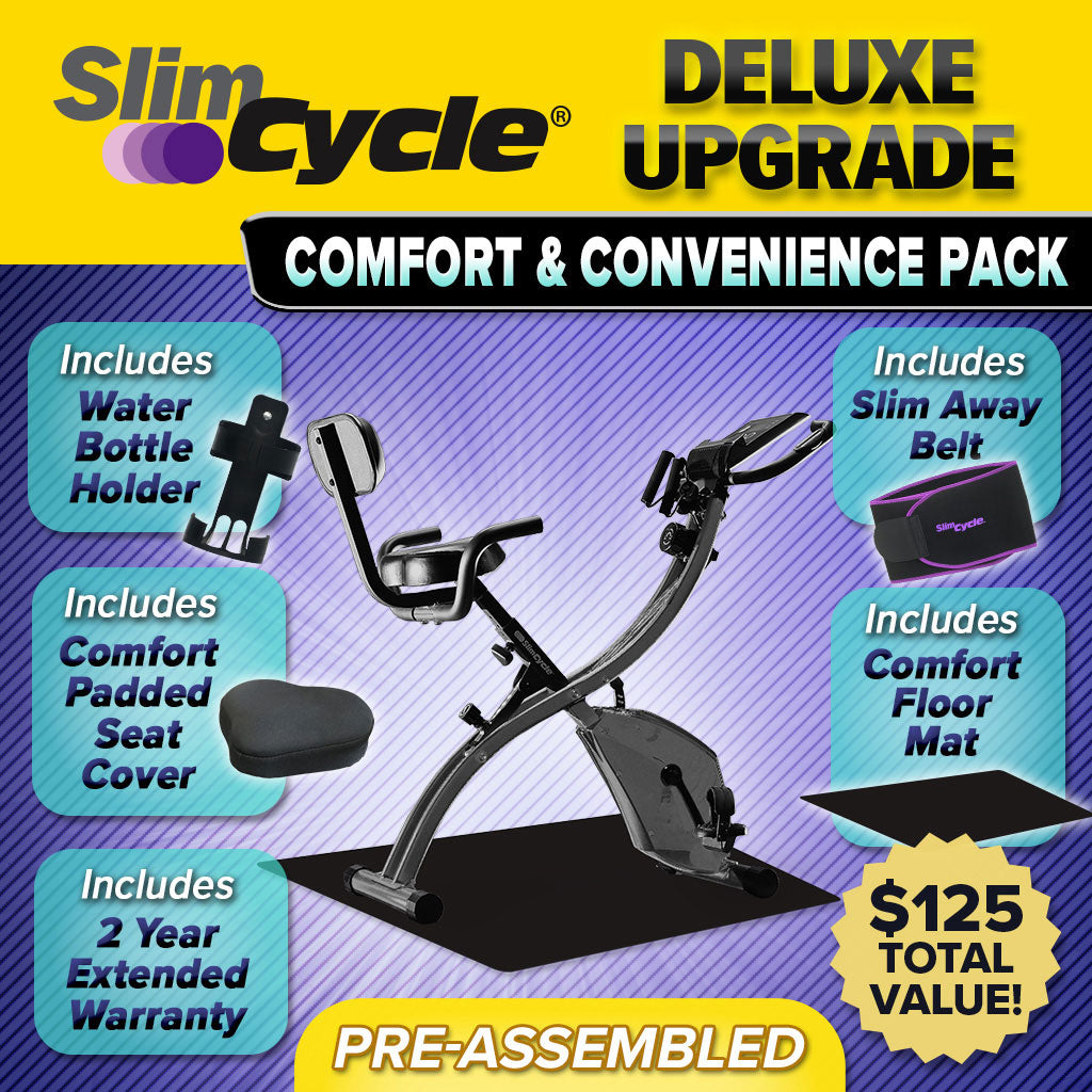 Slim cycle bike assembled, images of water bottle holder, comfort padded seat cover, slim away belt, comfort floor mat, includes text