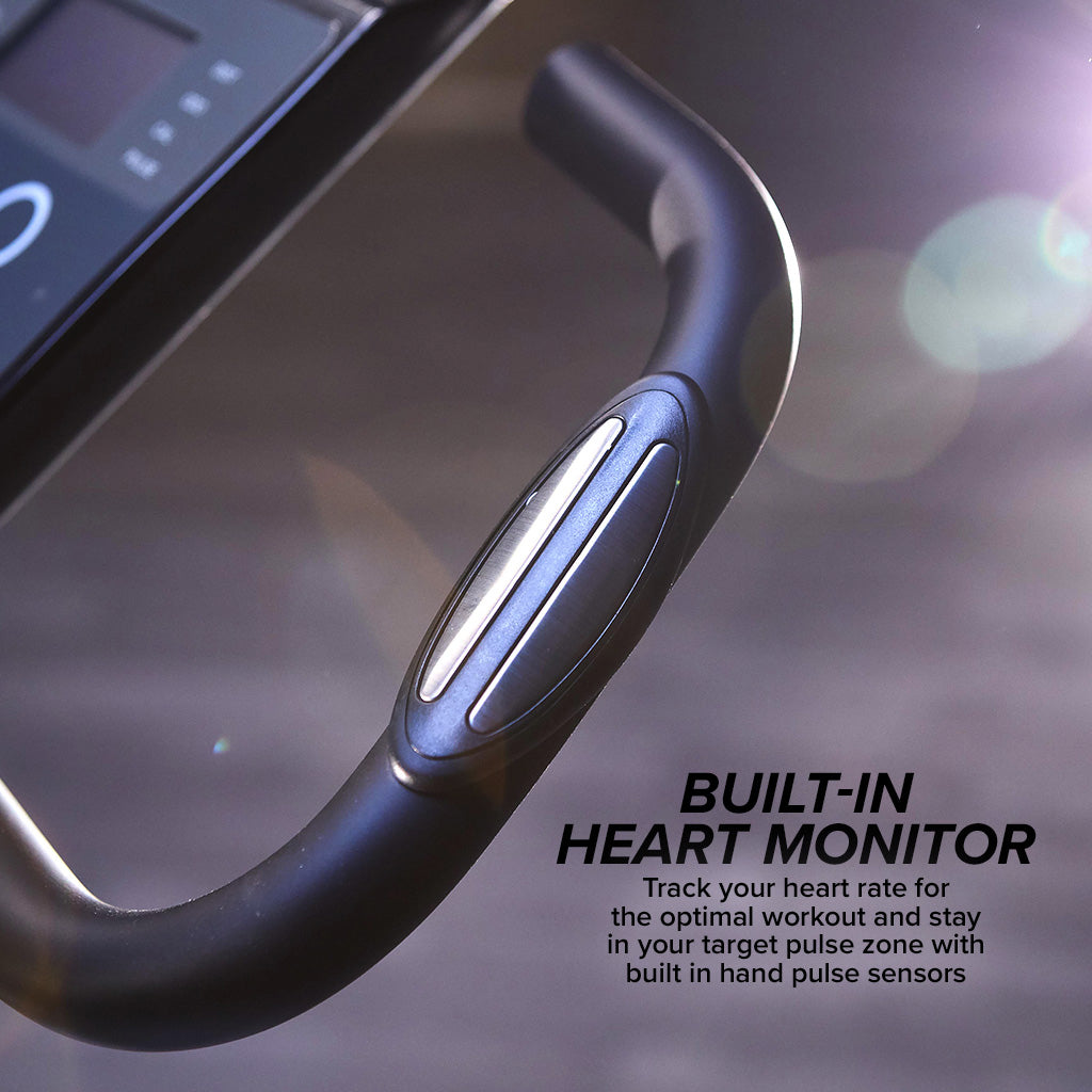 Showing built-in heart monitor on the handle of the Slim Cycle, includes text