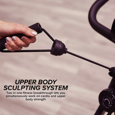 "Pulling on the handle for arm resistance, includes text ""Upper Body Sculpting System"", ""Two in one fitness breakthrough lets you simultaneously work on cardio and upper body strength"""