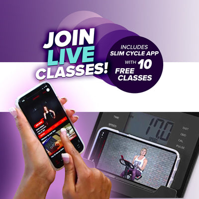 Slim Cycle, join live classes, includes slim cycle app with 10 free classes