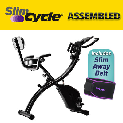 "Slim cycle bike assembled, picture of Slim Away Belt, includes text ""Slim Cycle Assembled"", ""Includes Slim Away Belt"""