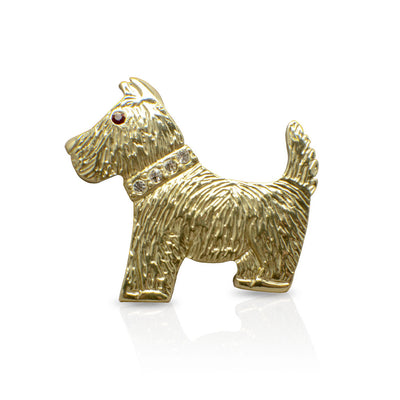 Goldtone Terrier Brooch Pin