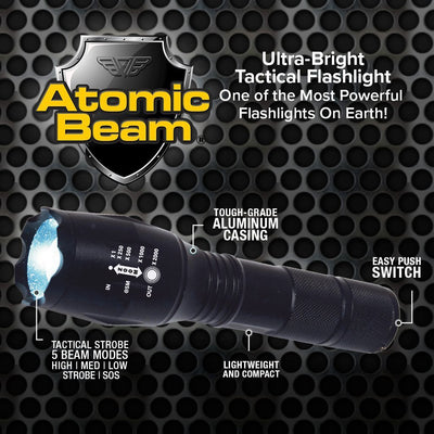 Atomic Beam Flashlight 2-Pack infographic showing functions of the flashlight
