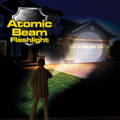 Atomic Beam Flashlight man using it to shine on a house image from BulbHead