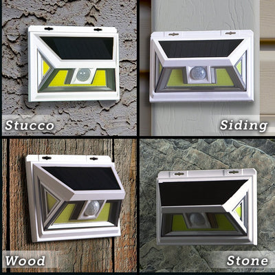 Atomic Beam SunBlast Motion Sensor Light on different wall types, stucco, siding, wood and stone