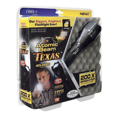 Atomic Beam Texas Flashlight packaging silo image from BulbHead