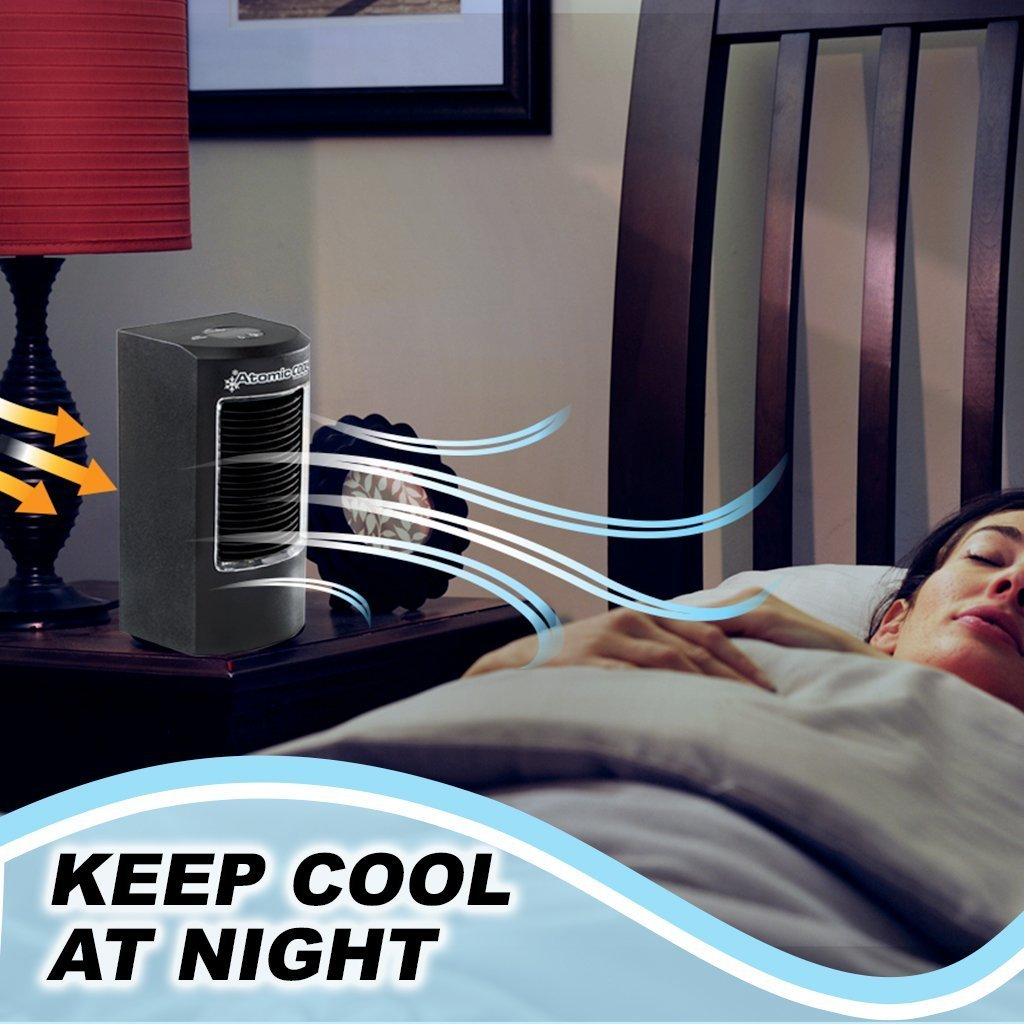 Atomic Cool Portable Personal Cooling System in use, keep cool at night