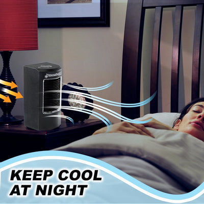 Atomic Cool Portable Personal Cooling System 2-Pack in use, keep cool at night