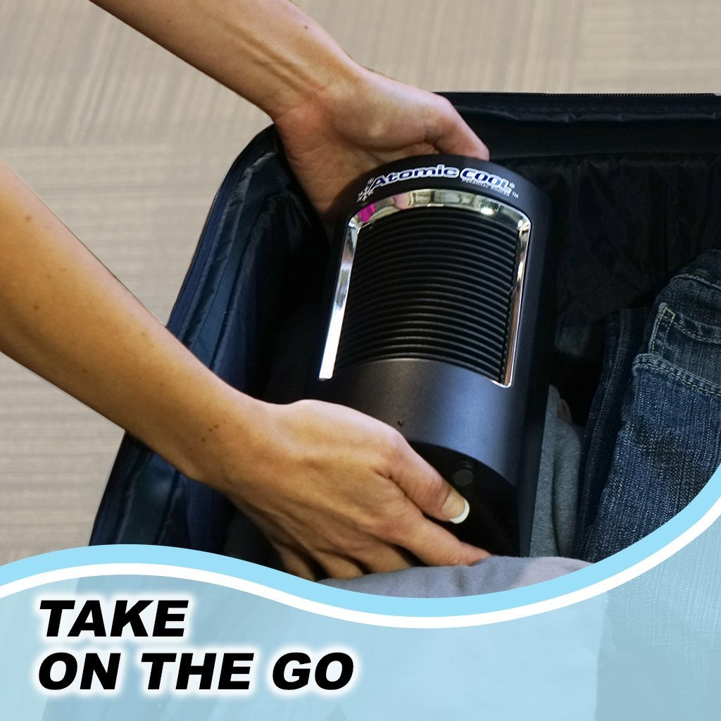 Atomic Cool Portable Personal Cooling System in a luggage take on the go image from BulbHead