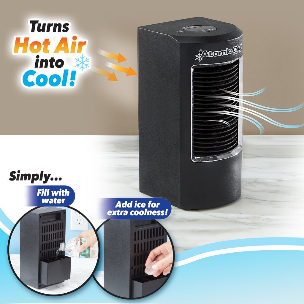 Atomic Cool Portable Personal Cooling System 2-pack infographic turns hot air into cool