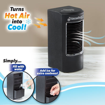 Atomic Cool Portable Personal Cooling System infographic turns hot air into cool
