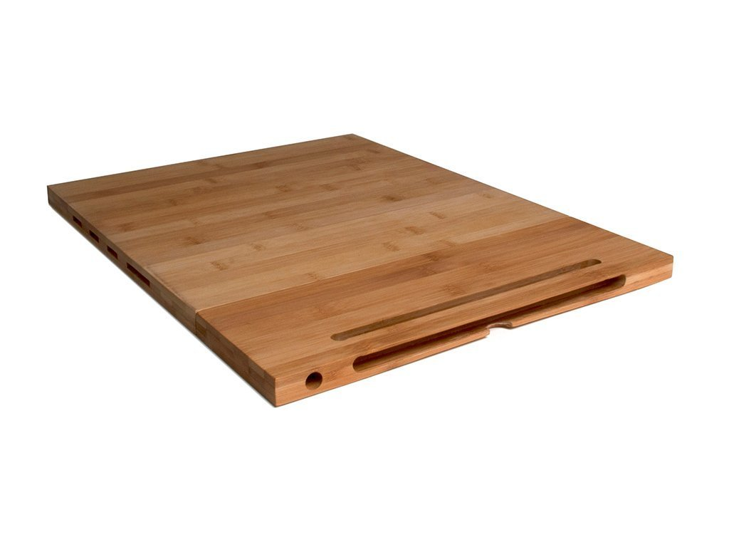 Incroyable Bamboo Cutting Board W/Stand U0026 Knife Storage Image From BulbHead