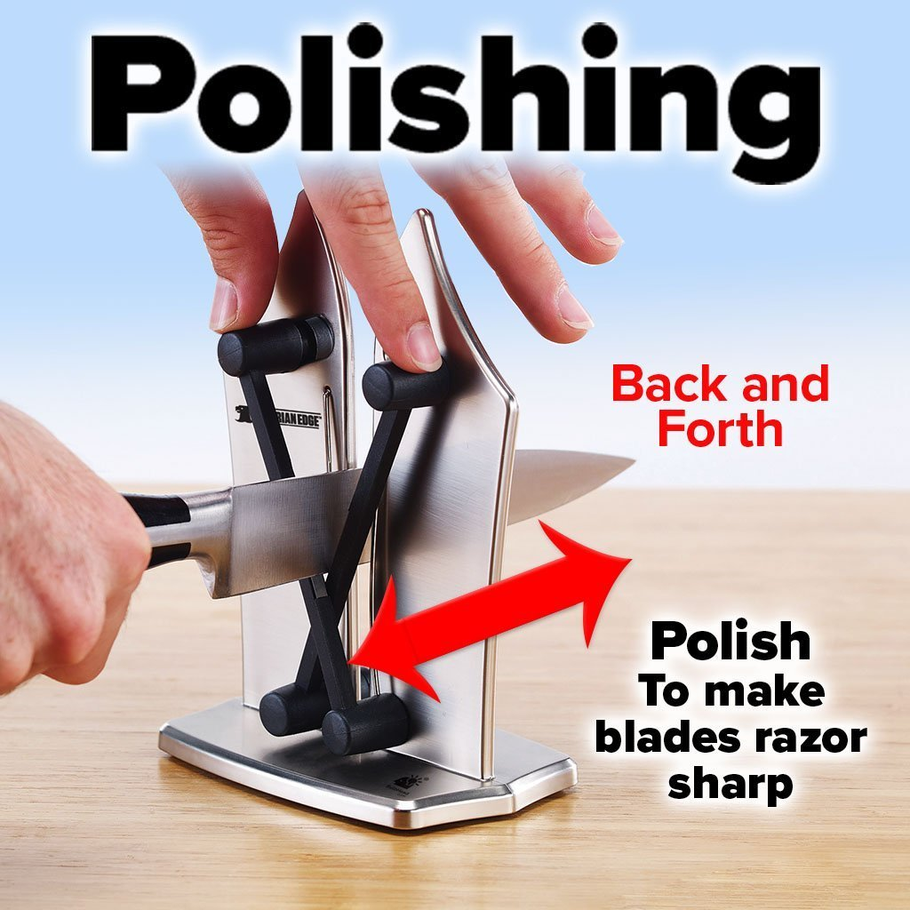 Bavarian Edge Knife Sharpener 2-Pack showing how to do polishing - back and forth