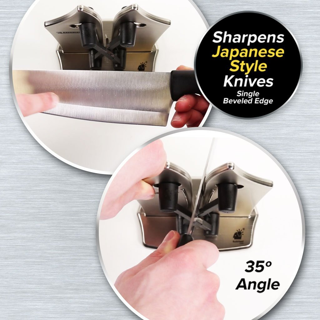 Bavarian Edge Knife Sharpener 2-Pack infographic showing how to sharpen Japanese style knives - 35-degree angle