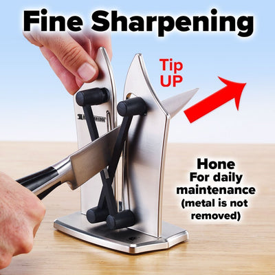 Bavarian Edge Knife Sharpener showing how to do fine sharpening - tip up