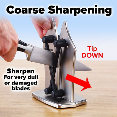 Bavarian Edge Knife Sharpener showing how to do coarse sharpening - tip down