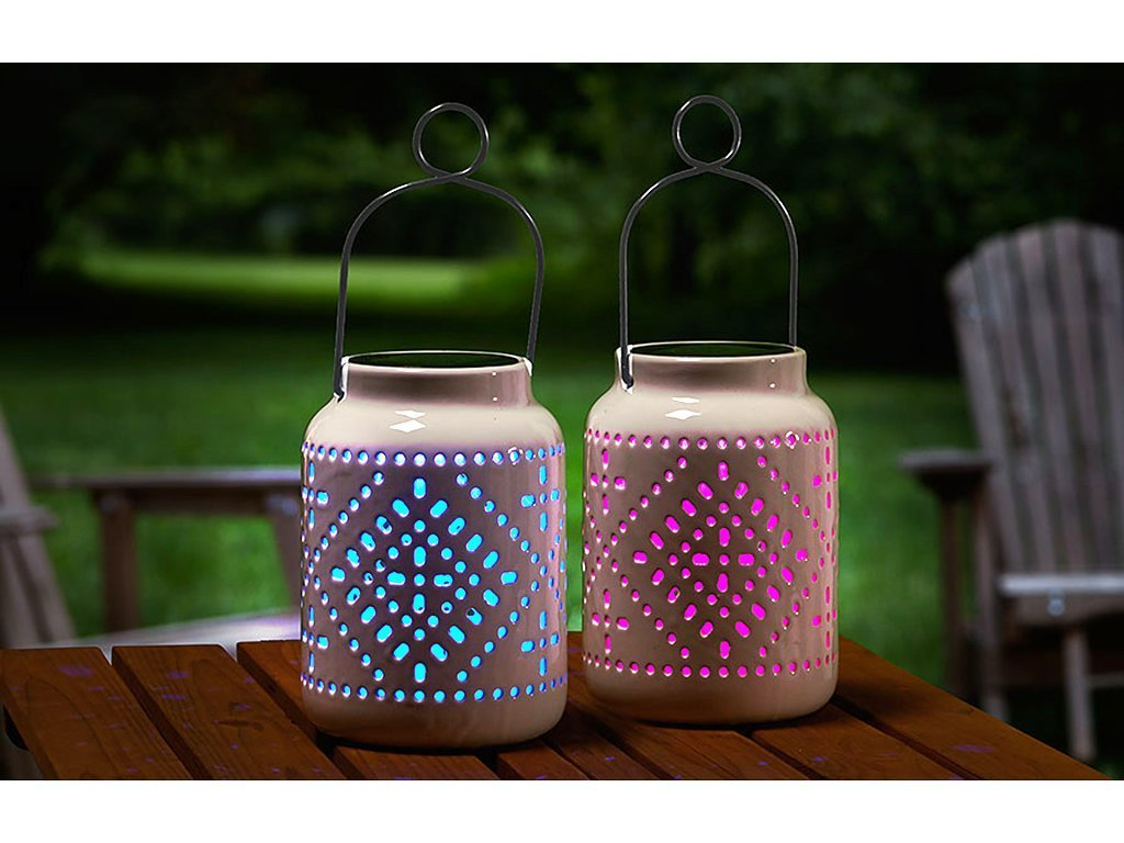 Ceramic Solar Lantern Set Of 2 Bulbhead