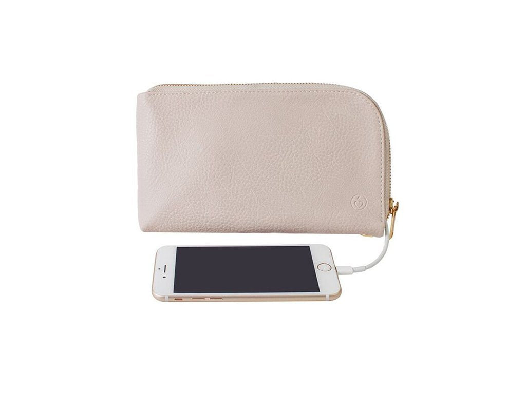 BEIGE Chic Buds Phone Charging Clutch image from BulbHead