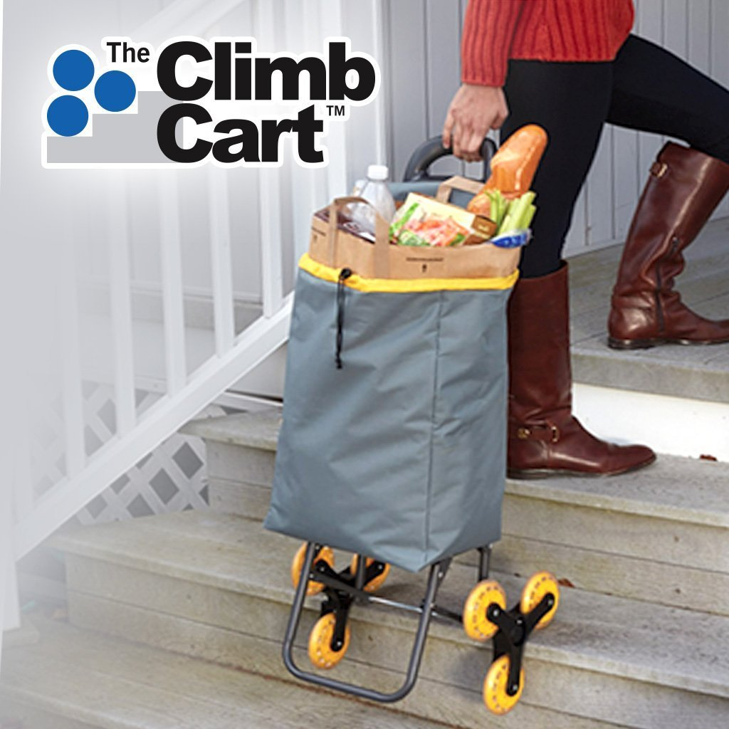 Climb Cart Stair Climbing Folding Cart lady pulling cart filled with groceries up the stairs