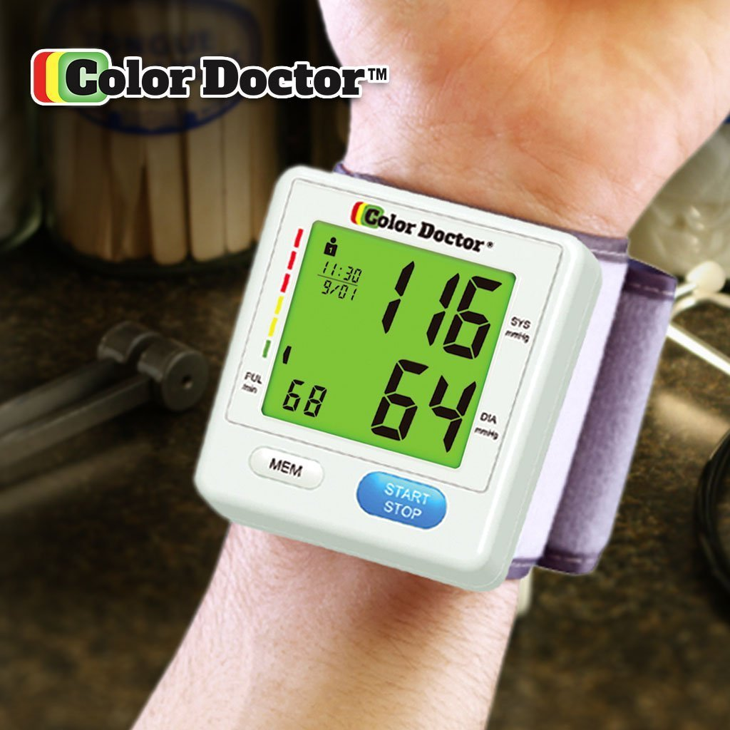 Color Doctor Blood Pressure Monitor on wrist with green display screen