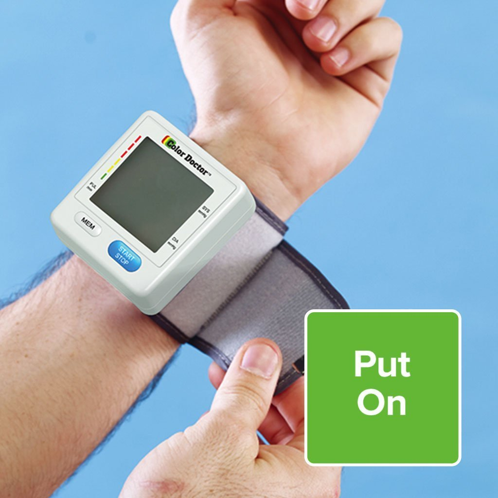 Color Doctor Blood Pressure Monitor on wrist put on with velcro strap