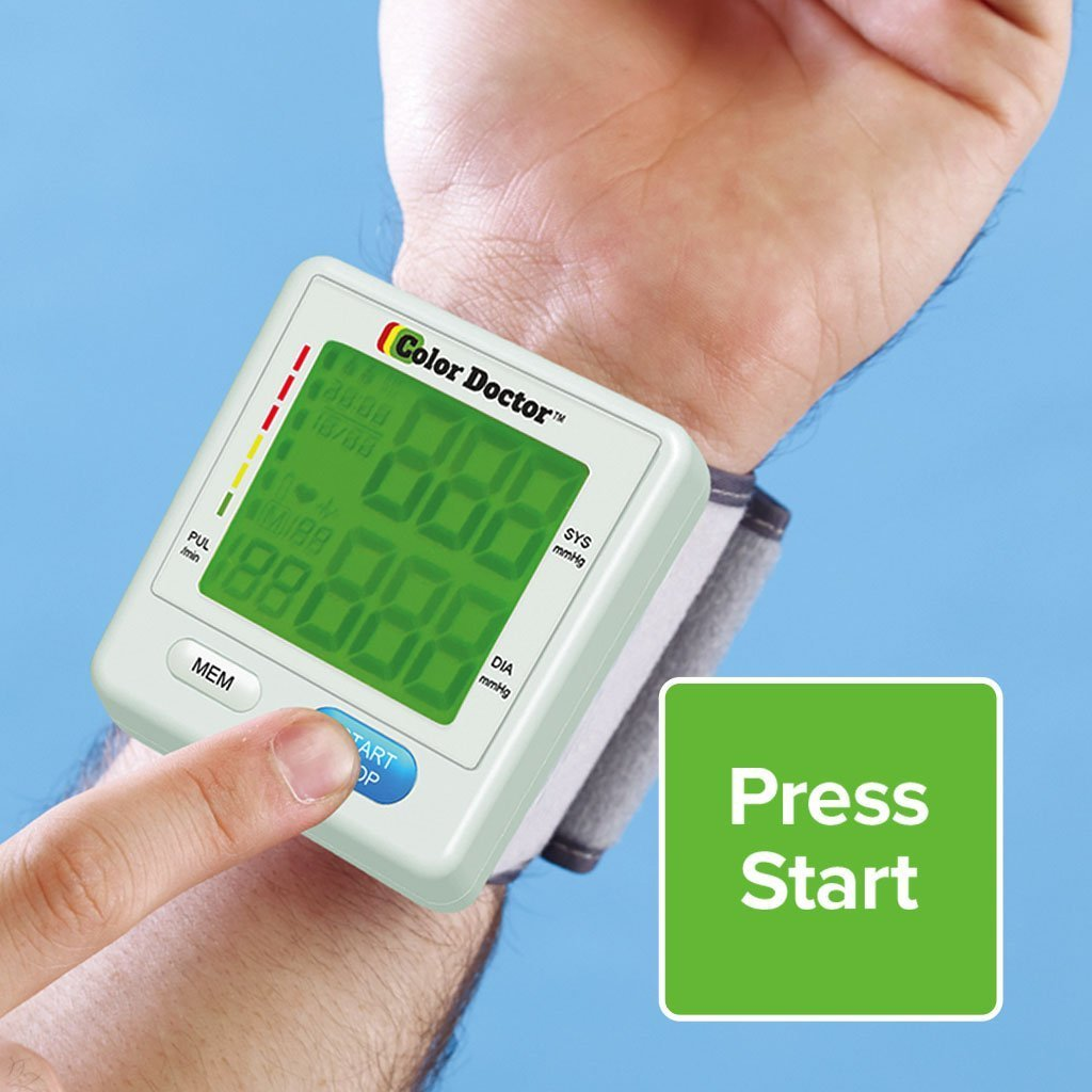 Color Doctor Blood Pressure Monitor on wrist press start