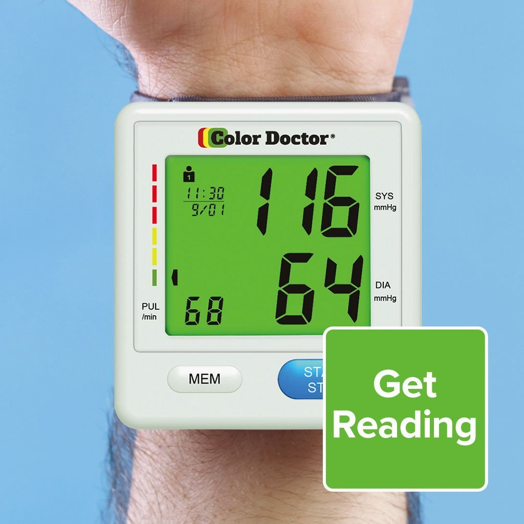 Color Doctor Blood Pressure Monitor on wrist with green reading
