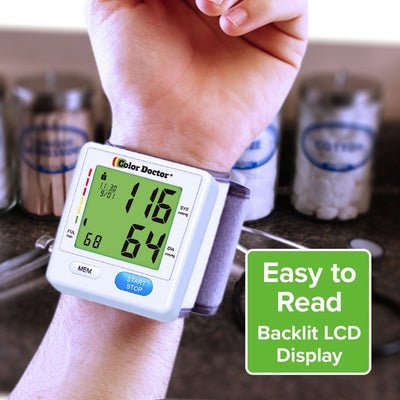 Color Doctor Blood Pressure Monitor on wrist, easy to read blacklit LCD display