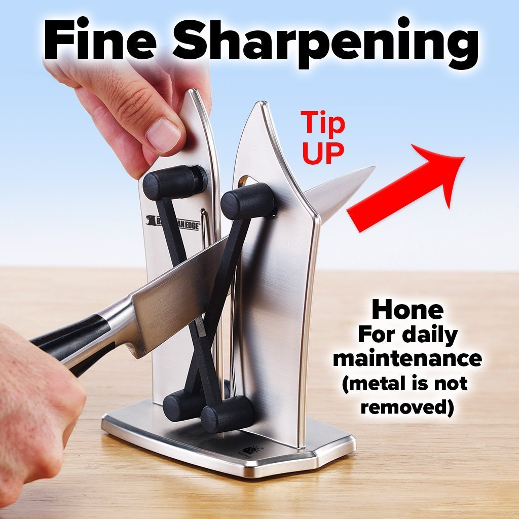 Deluxe Bavarian Edge Knife Sharpener 2-Pack showing how to do fine sharpening - tip up