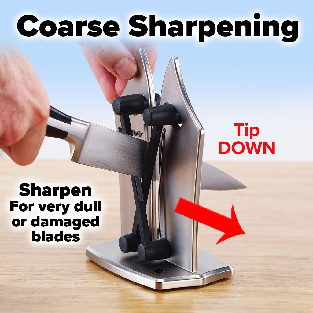 Deluxe Bavarian Edge Knife Sharpener 2-Pack showing how to do coarse sharpening - tip down