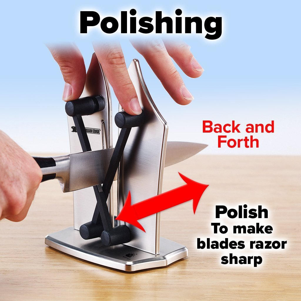 Deluxe Bavarian Edge Knife Sharpener 2-Pack showing how to do polishing - back and forth