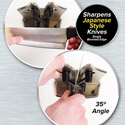 Deluxe Bavarian Edge Knife Sharpener 2-Pack infographic showing how to sharpen Japanese style knives - 35-degree angle