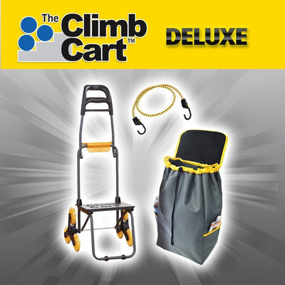 Deluxe Climb Cart Stair Climbing Folding Cart includes a bag with side pockets and bungee cord image from BulbHead