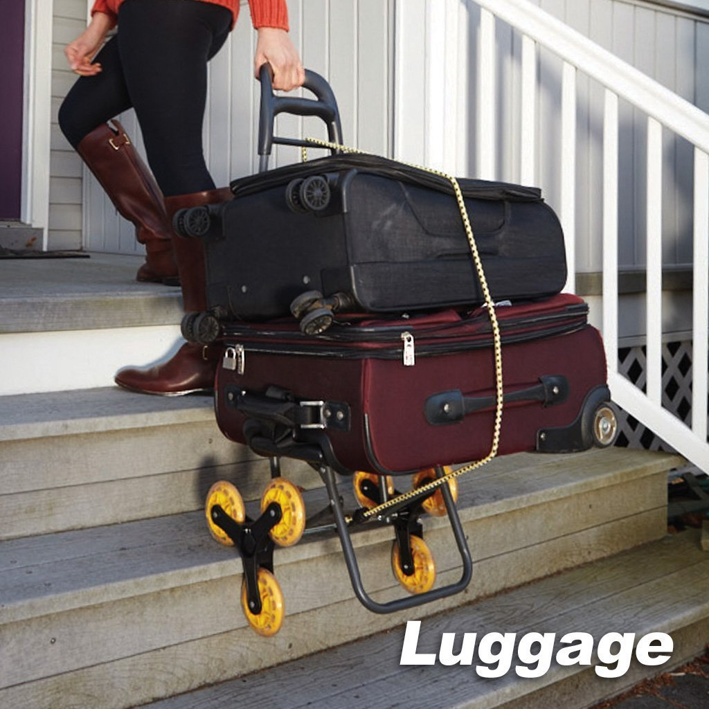 Deluxe Climb Cart Stair Climbing Folding Cart in use to pull luggage