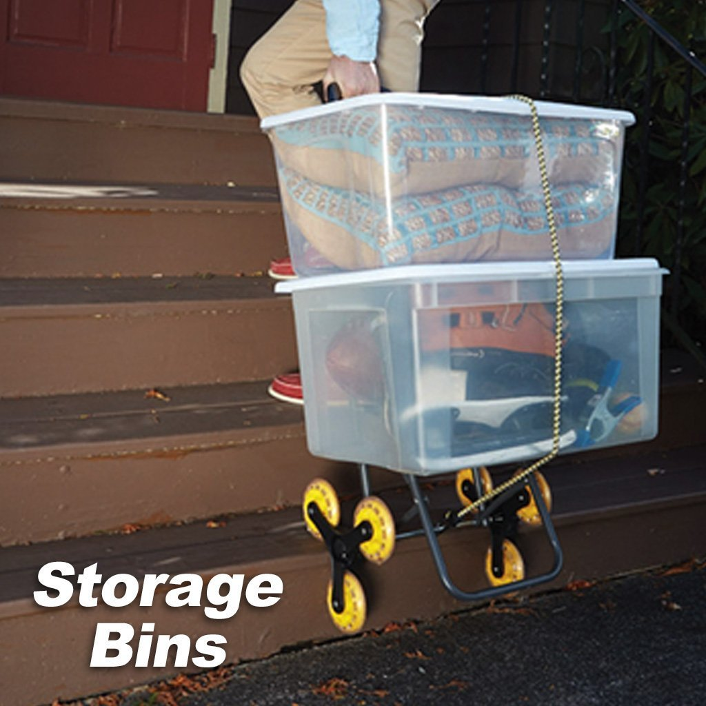 Deluxe Climb Cart Stair Climbing Folding Cart in use to pull storage bins