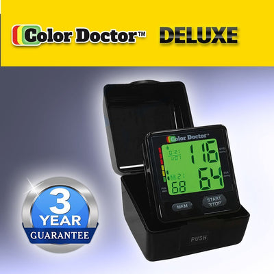 Deluxe Color Doctor Blood Pressure Monitor packaging silo image with 3 year warranty from BulbHead