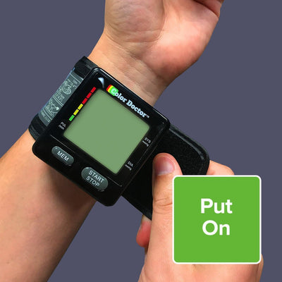 Deluxe Color Doctor Blood Pressure Monitor on wrist closing the velcro strap