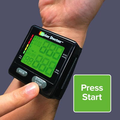 Deluxe Color Doctor Blood Pressure Monitor on wrist, press start