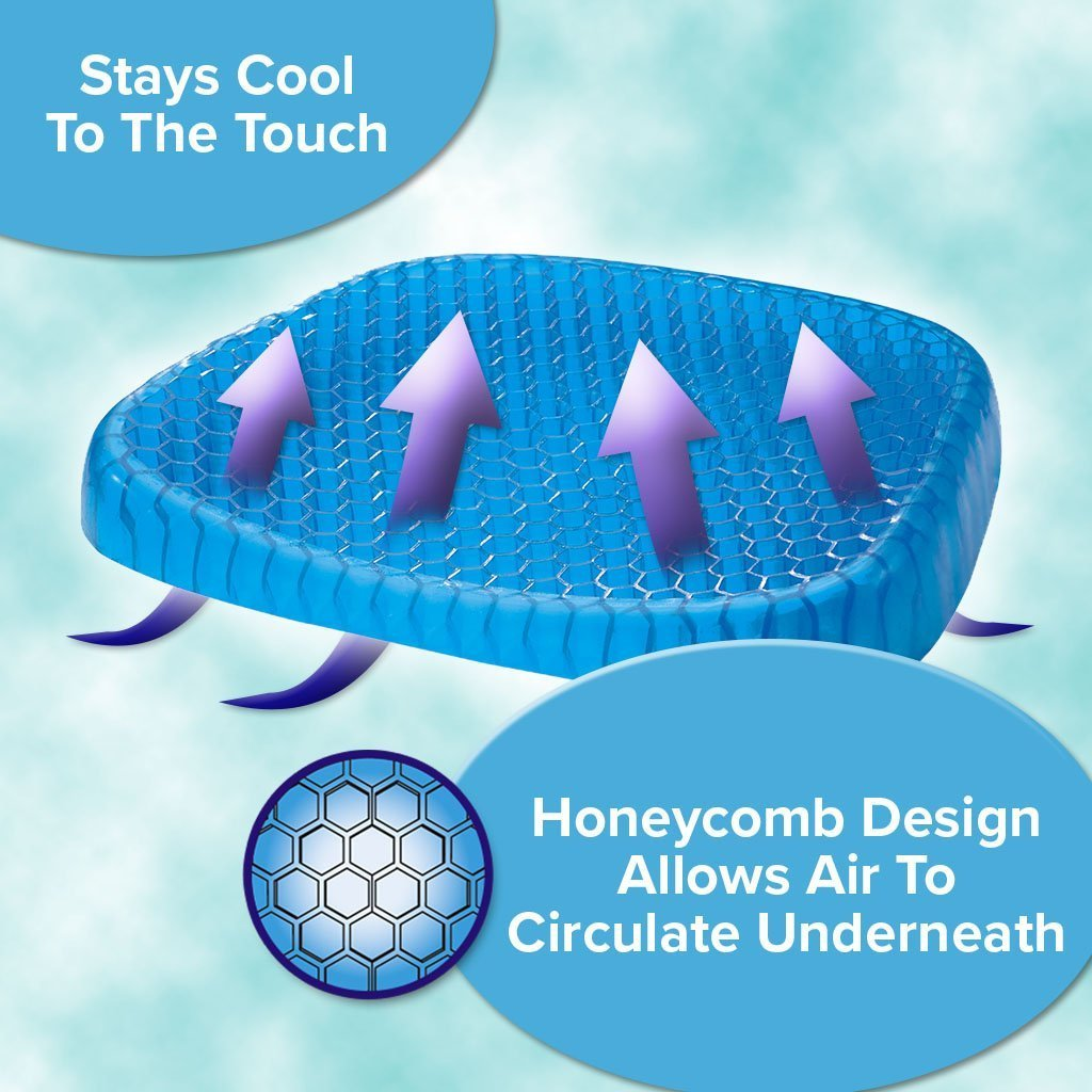 Deluxe Egg Sitter Support Cushion 2-Pack infographic showing honeycomb design, allows air to circulate underneath, stays cool to the touch
