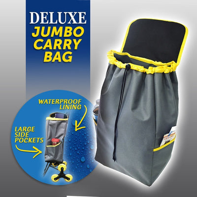 Deluxe Jumbo Carry Bag for Climb Cart infographic showing side pockets image from BulbHead