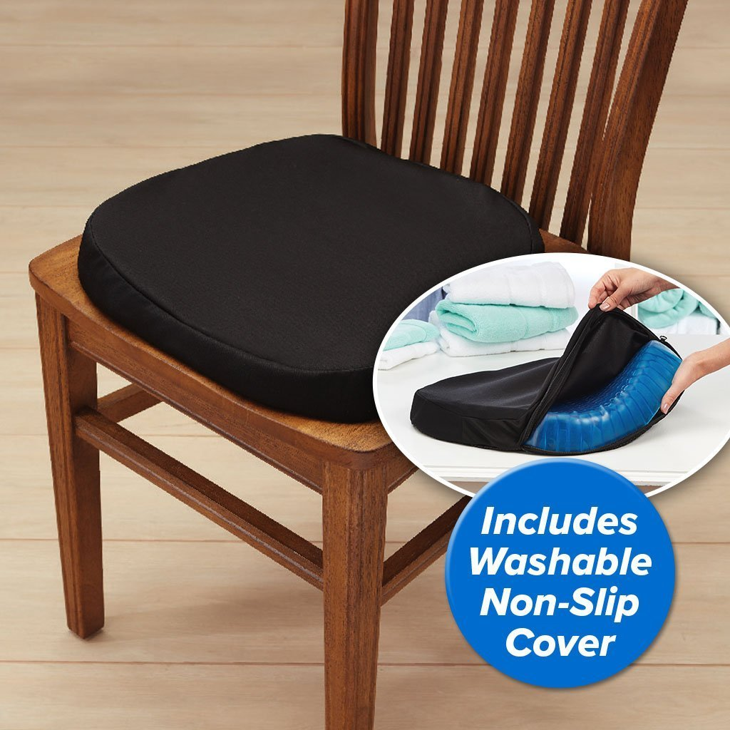 Egg Sitter Support Cushion 2-Pack on a chair with black washable non-slip cover