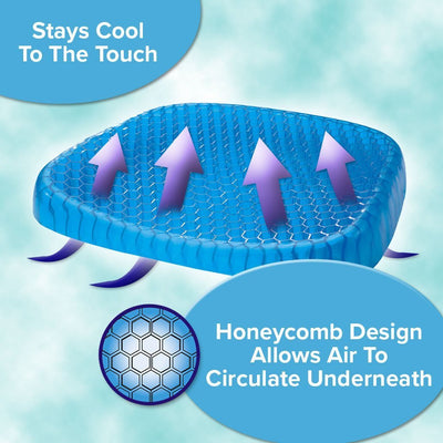 Egg Sitter Support Cushion infographic showing honeycomb design, allows air to circulate underneath, stays cool to the touch