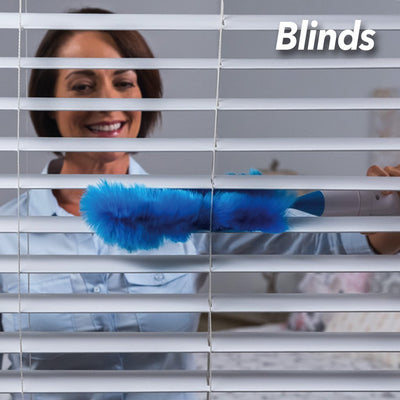 Hurricane Spin Duster 2-Pack in use on blinds