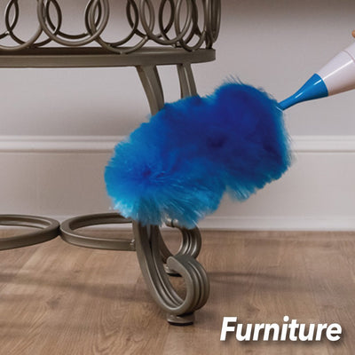 Hurricane Spin Duster Motorized Dust Wand in use on furniture