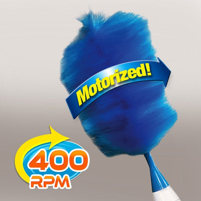 Hurricane Spin Duster Motorized Dust Wand infographic showing it is motorized with 400RPM